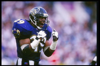 27 Oct 1996:  Safety Eric Turner of the Baltimore Ravens celebrates during a game against the St. Louis Rams at Memorial Stadium in Baltimore, Maryland.  The Ravens won the game 37-31. Mandatory Credit: Al Bello  /Allsport
