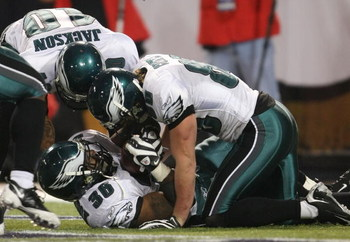 MINNEAPOLIS - JANUARY 04:  Brian Westbrook #36  of the Philadelphia Eagles celebrates his touchdown with teammates DeSean Jackson #10 and Kevin Curtis #80 in the fourth quarter against the Minnesota Vikings during the NFC Wild Card playoff game on January