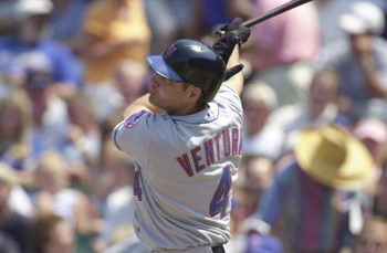 26 Jun 2001:  Third baseman Robin Ventura #4 of the New York Mets connects for a solo home run on the first pitch of the fourth inning against starting pitcher Jon Leiber of the Chicago Cubs at Wrigley Field in Chicago, Illinois.  The Cubs won 4-2.  DIGIT
