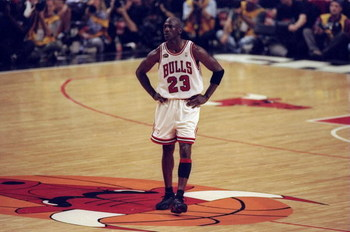 10 Jun 1998:  Michael Jordan #23 of the Chicago Bulls looks on during the NBA Finals Game 4 against the Utah Jazz at the United Center in Chicago, Illinois. The Bulls defeated the Jazz 86-82. Mandatory Credit: Al Bello  /Allsport