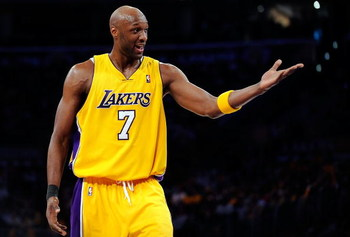 LOS ANGELES, CA - MAY 19:  Lamar Odom #7 of the Los Angeles Lakers reacts in the second quarter against the Denver Nuggets in Game One of the Western Conference Finals during the 2009 NBA Playoffs at Staples Center on May 19, 2009 in Los Angeles, Californ