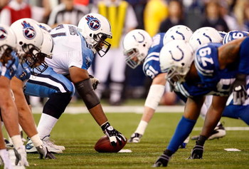 INDIANAPOLIS - DECEMBER 28:  The Tennessee Titans and the Indianapolis Colts face off at the line of scrimmage during the game at Lucas Oil Stadium December 28, 2008 in Indianapolis, Indiana.  (Photo by Jamie Squire/Getty Images)