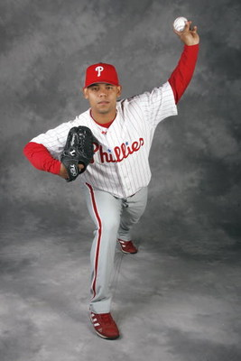 CLEARWATER, FL - FEBRUARY 20:  Sergio Escalona # 65 of the Philadelphia Phillies poses for a photo during Spring Training Photo day on February 20, 2009 at Bright House Networks Field in Clearwater, Florida.  (Photo by Chris Graythen/Getty Images)