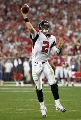 GLENDALE, AZ - JANUARY 03:  Quarterback Matt Ryan #2 of the Atlanta Falcons walks throws a pass in the NFC Wild Card Game against the Arizona Cardinals on January 3, 2009 at University of Phoenix Stadium in Glendale, Arizona. The Cardinals defeated the Fa