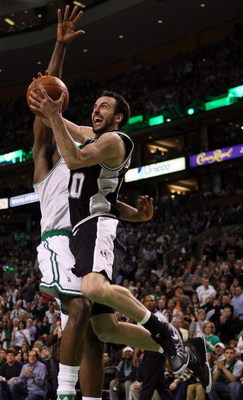 BOSTON - FEBRUARY 08:  Manu Ginobili #20 of San Antonio Spurs goes up for two as Kendrick Perkins  #43 of the Boston Celtics on February 8, 2009 at TD Banknorth Garden in Boston, Massachusetts. The Spurs defeated the Celtics 105-99. NOTE TO USER: User exp