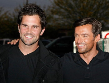 TEMPE, AZ - APRIL 27:  Arizona Cardinals quarterback Matt Leinart (L) and actor Hugh Jackman arrive at the premiere of 'X-Men Origins: Wolverine' at the Harkins Theatres at Tempe Marketplace April 27, 2009 in Tempe, Arizona. The film opens nationwide in t