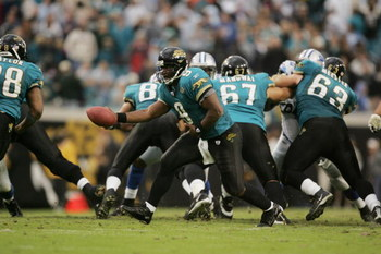 JACKSONVILLE, FL - NOVEMBER 14:  Quarterback David Garrard #9 of the Jacksonville Jaguars looks to hand off the ball against the Detroit Lions at Alltel Stadium on November 14, 2004 in Jacksonville, Florida. The Jaguars defeated the Lions in overtime 23-1