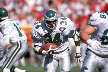 SAN FRANCISCO - OCTOBER 2:  Running back Herschel Walker #34 of the Philadelphia Eagles rushes for yards during a game against the San Francisco 49ers at Candlestick Park on October 2, 1994 in San Francisco, California.  The Eagles won 40-8.  (Photo by Ge