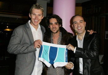 SYDNEY, AUSTRALIA - AUGUST 19:  (L-R)Australian cricketer Brett Lee, actor Clayton Watson and Bruno Schiavi of AceStar pose during the official launch of the AceStar underwear range at Pink Salt on August 19, 2008 in Sydney, Australia.  (Photo by Sergio D