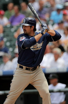 DENVER - MAY 31:  Adrian Gonzalez #23 of the San Diego Padres takes an at bat against the Colorado Rockies during MLB action at Coors Field on May 31, 2009 in Denver, Colorado. The Padres defeated the Rockies 5-2.  (Photo by Doug Pensinger/Getty Images)