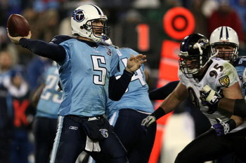 NASHVILLE, TN - JANUARY 10:  Quarterback Kerry Collins #5 of the Tennessee Titans throws the ball against the Baltimore Ravens during the AFC Divisional Playoff Game on January 10, 2009 at LP Field in Nashville, Tennessee.  (Photo by Jonathan Daniel/Getty