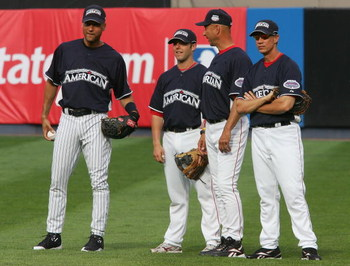 BRONX, NY - JULY 14:  (L-R) Derek Jeter of the New York Yankees, Dustin Pedroia, Terry Francona and an unidentified member of the Boston Red Sox speak in the outfield during batting practice for the 2008 MLB All-Star game at Yankee Stadium on July 14, 200