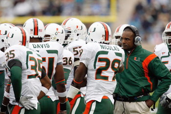 DURHAM, NC - OCTOBER 18:  Head coach Randy Shannon of the Miami Hurricanes talk to his players during the game against the Duke Blue Devils at Wallace Wade Stadium on October 18, 2008 in Durham, North Carolina.  (Photo by Kevin C. Cox/Getty Images)
