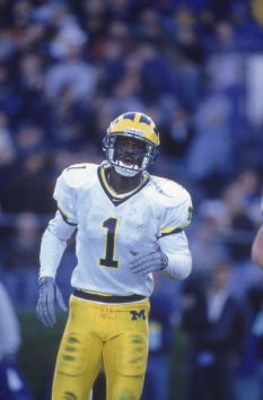 4 Nov 2000:  David Terrell #1 of the Michigan Wolverines moves on the field during the game against the Northwestern Wildcats in Evanston, Illinois. The Northwestern Wildcats defeated the Wolverines 54-51.Mandatory Credit: Jonathan Daniel  /Allsport