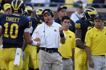 ANN ARBOR, MI - SEPTEMBER 27:  Head coach Rich Rodriguez of the Michigan Wolverines reacts during the game against the Wisconsin Badgers on September 27, 2008 at Michigan Stadium in Ann Arbor, Michigan. (Photo by Gregory Shamus/Getty Images)