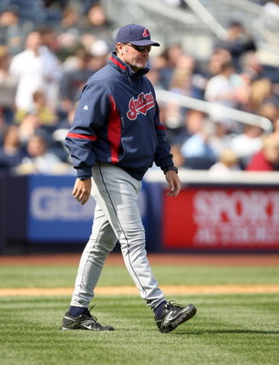 NEW YORK - APRIL 19:  Cleveland Indians manager Eric Wedge walks on to the field to make a pitching change during their game against the Cleveland Indians at Yankee Stadium on April 19, 2009 in the Bronx borough of New York City.  (Photo by Ezra Shaw/Gett