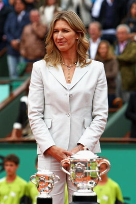 PARIS - JUNE 06: Former tennis player Steffi Graf looks on prior to presenting the trophies following the Women's Singles Final match between Svetlana Kuznetsova of Russia and Dinara Safina of Russia on day fourteen of the French Open at Roland Garros on
