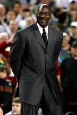 DETROIT - APRIL 06:  Michael Jordan is announced as a member of the 2009 Hall-of-Fame class at halftime of the Michigan State Spartans and the North Carolina Tar Heels during the 2009 NCAA Division I Men's Basketball National Championship game at Ford Fie