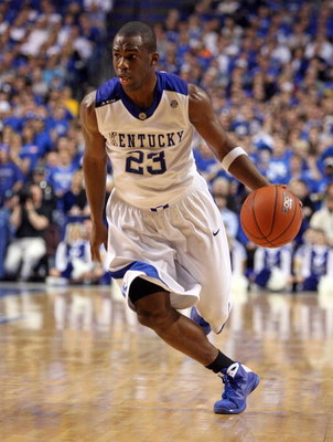 LEXINGTON, KY - FEBRUARY 21:  Jodie Meeks #23 of the Kentucky Wildcats dribbles the ball during the SEC game against the Tennessee Volunteers at Rupp Arena on February 21, 2009 in Lexington, Kentucky.  (Photo by Andy Lyons/Getty Images)