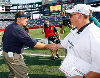 FOXBORO, MA - SEPTEMBER 21: Coach Bill Belichick of the New england Patriots shakes hands with coach Tony Sparano of the Miami Dolphins after a 38-13 Dolphin win at Gillette Stadium on September 21, 2008 in Foxboro, Massachusetts. (Photo by Jim Rogash/Get