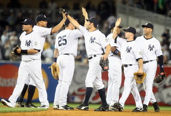 NEW YORK - JUNE 08: The New York Yankees celebrate defeating the Tampa Bay Rays on June 8, 2009 at Yankee Stadium in the Bronx borough of New York City.  (Photo by Nick Laham/Getty Images)