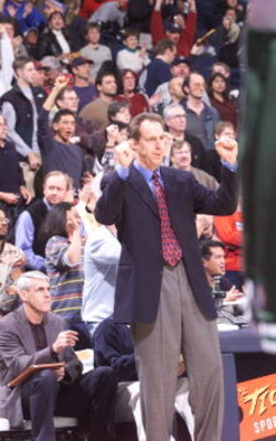 21Jan 2001:  Coach Dave Cowens of the Golden State Warriors reacts as his team beats the Boston Celtics 94-91 at the Arena in Oakland, Oakland, California. DIGITAL IMAGE Mandatory Credit: Tom Hauck/ALLSPORT NOTE TO USER: It is expressly understood that th
