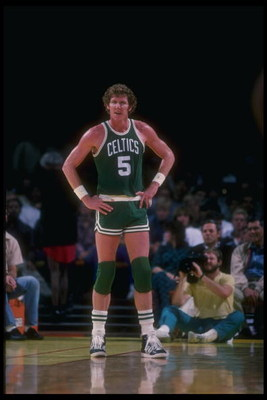 Undated:  Bill Walton of the Boston Celtics looks on during a game. Mandatory Credit: Rick Stewart  /Allsport