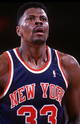 1993:  NEW YORK CENTER PATRICK EWING AT THE FREE THROW LINE DURING THE KNICKS REGULAR SEASON GAME AT THE DENVER NUGGETS. Mandatory Credit: Tim Defrisco/ALLSPORT