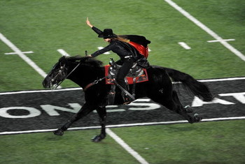 LUBBOCK, TX - NOVEMBER 08:  The Texas Tech Red Raiders Masked Rider during a game against the Oklahoma State Cowboys at Jones AT&T Stadium on November 8, 2008 in Lubbock, Texas.  (Photo by Ronald Martinez/Getty Images)
