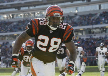 CINCINNATI, OH - DECEMBER 1:  Corey Dillon #28 of the Cincinnati Bengals moves on the field during the NFL game against the Baltimore Ravens on December 1, 2002 at Paul Brown Stadium in Cincinnati, Ohio. The Ravens won 27 -23.   (Photo by Craig Jones/Gett