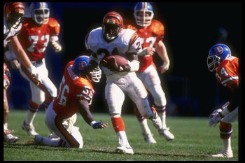 1 Sep 1991:  Running back James Brooks of the Cincinnati Bengals runs with the ball during a game against the Denver Broncos at Mile High Stadium in Denver, Colorado.  The Broncos won the game, 45-14. Mandatory Credit: Stephen Dunn  /Allsport