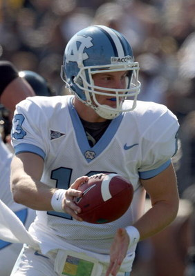 WINSTON SALEM, NC - OCTOBER 27:  T.J.Yates #13 of the University of North Carolina Tar Heels during the ACC game at the Groves Stadium, on October 27, 2007 in Winston Salem,North Carolina.  (Photo by David Cannon/Getty Images)