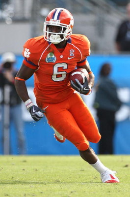 JACKSONVILLE, FL - JANUARY 1:  Jacoby Ford #6 of the Clemson Tigers runs for yardage after a reception during the Konica Minolta Gator Bowl against the Nebraska Cornhuskers at Jacksonville Municipal Stadium January 1, 2009 in Jacksonville, Florida.  (Phot