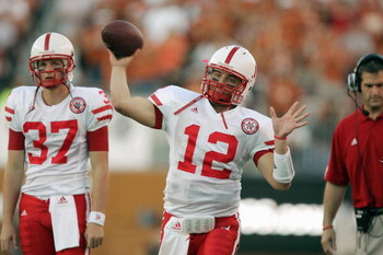 AUSTIN, TX - OCTOBER 27:  Joe Ganz #12 of the Nebraska Cornhuskers passes the ball before the game against the Texas Longhorns at Darrell K Royal-Texas Memorial Stadium October 27, 2007 in Austin, Texas. Texas won 28-25. (Photo by Brian Bahr/Getty Images)
