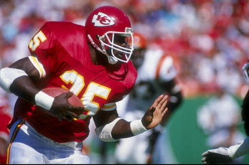 Running back Christian Okoye of the Kansas City Chiefs in action against the Cincinnati Bengals during a game at Arrowhead Stadium in Kansas City, Missouri. The Bengals defeated the Chiefs 21-17.