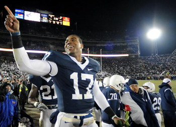 STATE COLLEGE, PA - NOVEMBER 22:  Darryl Clark #17 of the Penn State Nittany Lions celebrates after clinching the Big Ten title and a bid to the Rose Bowl after the game against the Michigan State Spartans on November 22, 2008 at Beaver Stadium in State C