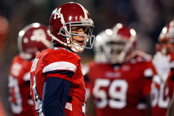 MOBILE, AL - JANUARY 24:  John Parker Wilson #14 of the South Team looks on during the game against the North Team during the Under Armour Senior Bowl on January 24, 2009 at Ladd-Peebles Stadium in Mobile, Alabama.  (Photo by Chris Graythen/Getty Images f