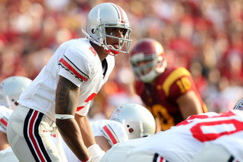 LOS ANGELES, CA - SEPTEMBER 13:  Terrelle Pryor #2 of the Ohio State Buckeyes lines up under center against the USC Trojans during the college football game at the Los Angeles Memorial Coliseum on September 13, 2008 in Los Angeles, California.  (Photo by