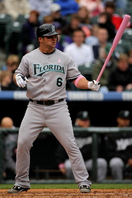 DENVER - MAY 10:  Dan Uggla #6 of the Florida Marlins takes an at bat against the Colorado Rockies during MLB action at Coors Field on May 10, 2009 in Denver, Colorado. Uggla was one of many players using pink bats in Major League Baseball today as part o