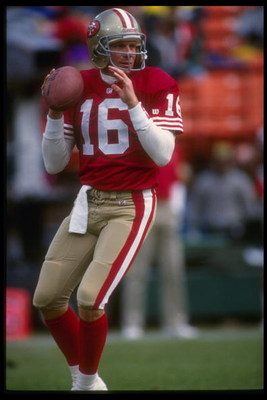 9 Jan 1993: Quarterback Joe Montana #16 of the San Francisco 49ers drops back to pass during pre game warmups before the start of the 49ers 20-13 victory over the Washington Redskins in an NFC Divisional playoff game at Candlestick Park in San Francisco,