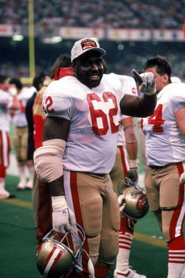 NEW ORLEANS - JANUARY 28:  Guy McIntyre #62 of the San Francisco 49ers celebrates on the sidelines in Super Bowl XXIV against the Denver Broncos at Louisiana Superdome on January 28, 1990 in New Orleans, Louisiana.  The 49ers won 55-10.  (Photo by George