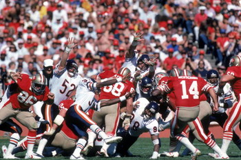 SAN FRANCISCO - OCTOBER 13:  Ray Wersching #85 of the San Francisco 49ers kicks the ball during a game against the Chicago Bears at Candlestick Park on October 13, 1985 in San Francisco, California.  The Bears won 26-10.  (Photo by George Rose/Getty Image