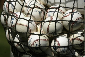SEATTLE - AUGUST 15:  A detail view of a bag of baseballs taken during the game between the New York Yankees and the Seattle Mariners on August 15 2004 at Safeco Field in Seattle, Washington. The Mariners won 7-3.  (Photo by Otto Greule Jr/Getty Images)