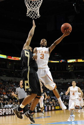 OKLAHOMA CITY - MARCH 11:  A.J. Abrams #3 of the Texas Longhorns takes a shot against Jermyl Jackson-Wilson of the Colorado Buffaloes during the Phillips 66 Big 12 Men's Basketball Championship at the Ford Center March 11, 2009 in Oklahoma City, Oklahoma.