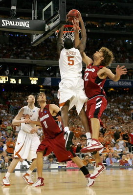 HOUSTON - MARCH 28:  Damion James #5 of the Texas Longhorns slam dunks the ball against Robin Lopez #42 of the Stanford Cardinal during the third round game of the South Regional as part of 2008 NCAA Men's Basketball Tournament at Reliant Stadium on March
