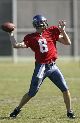 CHENEY, WA - AUGUST 3:  Quarterback Matt Hasselbeck #8 of the Seattle Seahawks sets up a pass during training camp at Eastern Washington University on August 3, 2005 in Cheney, Washington. (Photo by Jeff T. Green/Getty Images)