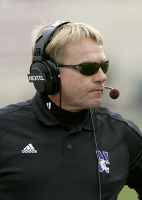 EAST LANSING, MI - OCTOBER 22:  Head coach Randy Walker of the Northwestern Wildcats looks on against the Michigan State Spartans at Spartan Stadium on October 22, 2005 in East Lansing, Michigan. The Wildcats defeated the Spartans 49-14.  (Photo by Tom Pi