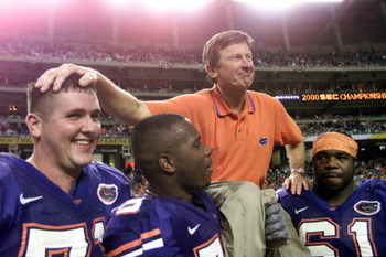 2 Dec 2000:  Head coach Steve Spurrier of the Florida Gators is carried off the field by players following the Gators'' 28-6 victory over Auburn to win the Southeastern Conference (SEC) Championship at the Georgia Dome in Atlanta, Georgia.  DIGITAL IMAGE