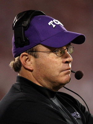 NORMAN, OK - SEPTEMBER 27:  Head coach Gary Patterson of the TCU Horned Frogs during play against the Oklahoma Sooners at Oklahoma Memorial Stadium on September 27, 2008 in Norman, Oklahoma.  The Sooners defeated the Horned Frogs 35-10.  (Photo by Ronald