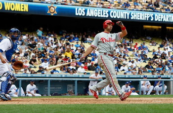LOS ANGELES, CA - JUNE 06:  Raul Ibanez #29 of the Philadelphia Phillies bats against the Los Angeles Dodgers at Dodger Stadium on June 6, 2009 in Los Angeles, California. The Dodgers defeated the Phillies 3-2 in 12 innings.  (Photo by Jeff Gross/Getty Im